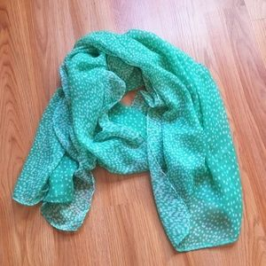3/$12 Lightweight Mint Scarf with White Polka Dots